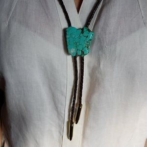 Mens or womens turquoise bolo necklace (item#33)